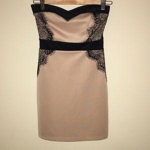 tan and black dress